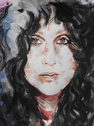 Head Shot Painting Prints - Singer Cher   Print by Chrisann Ellis