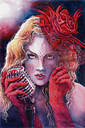 Singer Painting Originals - Singer in red gloves by Jim Bates