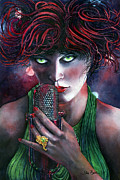 Singer Painting Originals - Singer with emerald eyes by Jim Bates