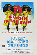 Umbrellas Digital Art Framed Prints - Singin in the Rain Framed Print by Nomad Art And  Design