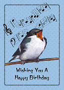 Musical Pastels Posters - Singing Bird Birthday Card Poster by Joyce Geleynse