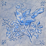 Netherlands Paintings - Singing bird Delft Blue by Raymond Van den Berg