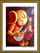 Guitar God Painting Originals - Singing  Ganesha by Sanjay Kumar