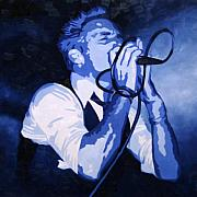 Lead Singer Paintings - Singing in Blue by Guenevere Schwien