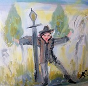 Lamppost Paintings - Singing in the damp by Judith Desrosiers
