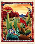 Batik Painting Posters - Singing in the Desert Morning Poster by Harriet Peck Taylor