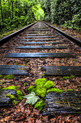 Railroads Photo Metal Prints - Singing in the Rain Metal Print by Debra and Dave Vanderlaan