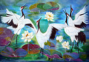 Lilly Pond Paintings - Singing in the Rain by To-Tam Gerwe