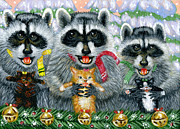Navidad Paintings - Singing Raccoons and Kittens by Jacquelin Vanderwood