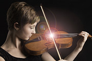 Attitude Photos - Singing Strings Violin and Teenager by M K  Miller