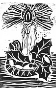 Relief Print Painting Prints - Single Candle with Holy Sprig  Block Print Print by Ellen Miffitt