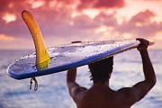 Beach Pictures Prints - Single Fin Surfer Print by Sean Davey