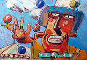 Caricature Painting Originals - Single Handed Juggling At The Big Top by Charlie Spear