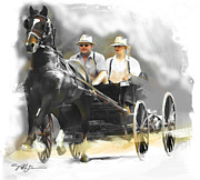 Horse Buggy Posters - Single Horse Power Poster by Bob Salo