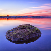 Color Image Art - Single Rock In The Loch by John Farnan