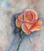 Peach Pastels Prints - Single Rose in Oil Print by Cathy Lindsey