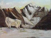 Mountain Goat Painting Prints - Singular Print by Alraune Chowdhury