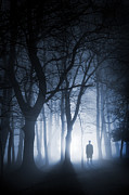 Mysterious Stranger Framed Prints - Sinister Man Standing Alone In Foggy Woodland Framed Print by Lee Avison