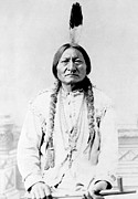 Chief Sitting Bull Framed Prints - Sioux Chief Sitting Bull Framed Print by War Is Hell Store