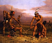 Americana Paintings - Sioux - Playing ball by Pg Reproductions