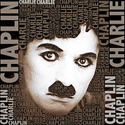 Sir Charles Framed Prints - Sir Charles Spencer Charlie Chaplin Square Framed Print by Tony Rubino