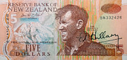 Signed Photo Prints - Sir Edmund Hillary signed banknote Print by Rudi Prott