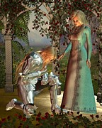 Arthurian Legend Prints - Sir Launcelot and Queen Guinevere Print by Fairy Fantasies