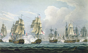 Frigates Prints - Sir Richard Strachans Action after the Battle of Trafalgar Print by Thomas Whitcombe
