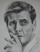 Star Drawings Posters - Sir Roger Moore 007 Poster by PainterArtist FINs husband MAESTRO