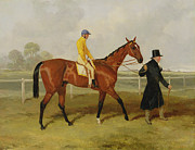 Horse Riders Prints - Sir Tatton Sykes Leading in the Horse Sir Tatton Sykes with William Scott Up Print by Harry Hall