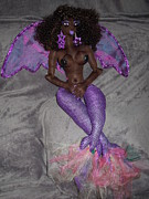 Two Tailed Sculptures - Siren Two-Tailed Winged Mermaid by Cassandra George Sturges