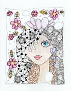 Original Pen And Ink Drawing Prints - Sissy Print by Paula Dickerhoff