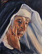 Catholic Art Painting Originals - Sister Ann by Xueling Zou