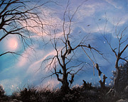 Crows Paintings - Sister Pact. Fantasy Landscape Silhouette Fairytale Art By Philippe Fernandez by Philippe Fernandez