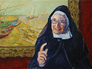 Catholic Art Painting Originals - Sister Wendy by Xueling Zou