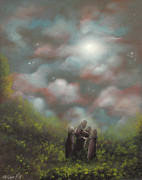 Acrylic Art Prints - Sisterhood. Fantasy Fairy Tale Landscape Painting. By Philippe Fernandez Print by Philippe Fernandez
