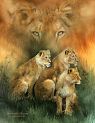 Cat Mixed Media Prints - Sisterhood Of The Lions Print by Carol Cavalaris