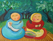 Green Beans Paintings - Sisters and Green Beans by Teresa Hutto