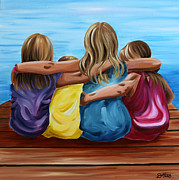 Bonding Painting Posters - Sisters Poster by Debbie Hart