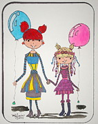 Sisters Drawings - Sisters Friends by Mary Kay De Jesus