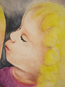 Kids Book Illustrations Framed Prints - Sisters Kiss Framed Print by Chrisann Ellis