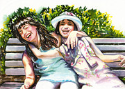 Sisters Paintings - Sisters laughing on bench by Maureen Dean
