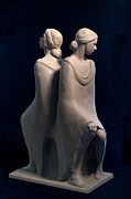 Girls Sculpture Metal Prints - Sisters Metal Print by Mary Buckman
