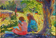 Thomas Bertram Poole Metal Prints - Sisters Reading under Oak Tree Metal Print by Thomas Bertram POOLE