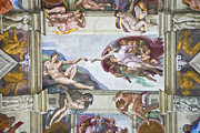 The Creation Of Adam Posters - Sistine Chapel by Michelangelo Poster by Michele Falzone