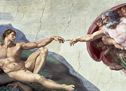 Catholicism Prints - Sistine Chapel Ceiling Print by Michelangelo Buonarroti