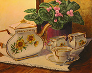 Teapot Paintings - Sit a Minute by Lorraine Vatcher