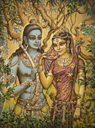 Devotional Paintings - Sita and Ram by Vrindavan Das