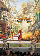 Devotional Paintings - Sita going to fire by Vrindavan Das