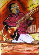 Player Pastels Framed Prints - Sitar player Framed Print by Nadira Karim